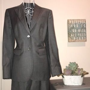 Brooks Brothers Skirt Suit Set Gray Pinstripe
